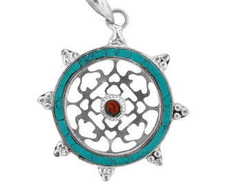 Dharmachakra dharma wheel patch buddhist symbol art decoration white metal turquoise dharma wheel pendant amulet with stone center aloadofball Gallery