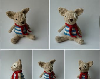 Crochet Dog with red scarf / Crochet stuffed toy/ Dog toy/ crochet dog/ baby crochet/ crochet toy/ crochet plush/ animal stuffed toy /