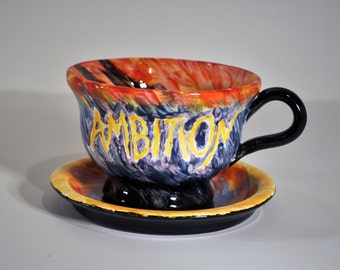 Hand-Painted Ceramic Giant Coffee Cup and Saucer