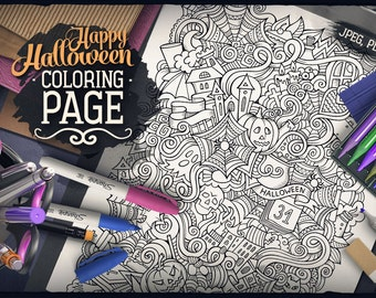 HAPPY HALLOWEEN Digital Coloring Page, Adult Coloring, Holiday Printable, Greeting Doodles Art, Halloween Doodling, Zenart Digital Download
