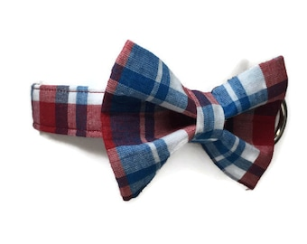 Patriotic Plaid Bow Tie Dog Collar size Medium