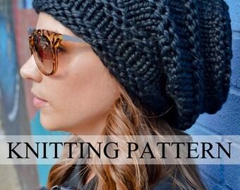 Knit Hat Pattern, Knitting Pattern ROCKER HIVE BEANIE, Knitted Slouchy Hat Pattern, Knit Slouchy Hat Pattern, Women's Hand Knit Hat Pattern