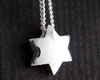 Mens Silver Jewish Star, Chunky Star of David, Magen David Pendant with Chain, Jewish Gifts, from our Yonatan Collection of Jewish Jewelry