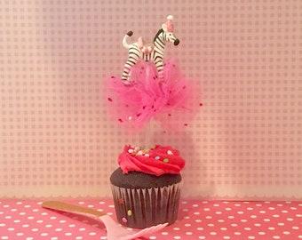 Zebra Cupcake Topper/Cake Topper/Party/Pink