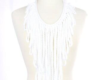White Crochet Fringe Necklace - Statement Necklace