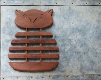 Vintage Owl Trivet   Wooden Hot Pad   Mid Century Kitchen   Table Decor   Surface Protection   Wood Trivet