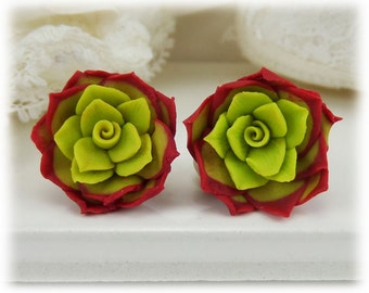 Red Succulent Earrings Stud or Clip On - Red Succulent Jewelry