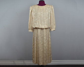 vintage 70s dress gold lady carol of new york women's clothing