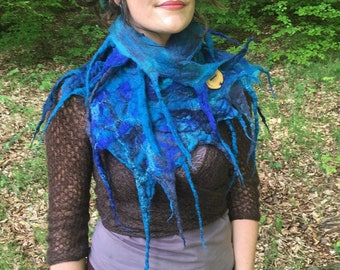 The 'Aerwyna' Mermaid Felted scarf in rich Ocean Hues with Tendrils, Wild Faerie Cowl, Larp Costume
