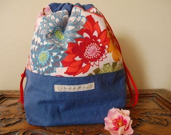 Mainly Blue Drawstring Bag, Medium