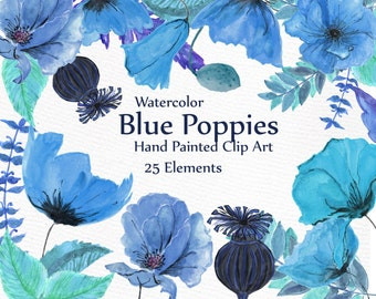 "Watercolor Floral Clipart: ""FLORAL CLIP ART"" Blue flowers Poppies Clipart wedding Clipart Watercolor flowers diy elements wedding invitation"
