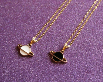 Saturn Necklace, Black or White Saturn Necklace, Space Necklace, Planet Necklace, Holiday Gift, Popular Neecklace, For Her