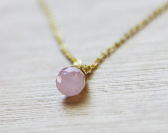 GENUINE Rose quartz Necklace Healing Crystal (Sterling Silver Upgrade Available) Pink Bridesmaid Necklace