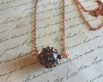 Copper Sun Beaded Necklace   Minimalist Jewelry   Pendant  T1203