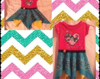 "Girls ""I Love You"" Handkerchief Skirt T-shirt Dress/ Size 6-9 months/ Hot Pink, Yellow, Turquiouse/ Heart and Flowers/Girly Twirl Skirt"