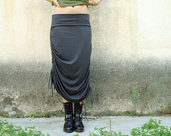 Adjustable skirt, Women skirt, Long skirt / Midi skirt, Grey skirt, Convertible skirt, Jersey skirt, Cotton skirt