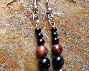 Black & red agate stone earrings (short)