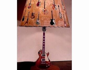 Guitar lamp etsy guitar lamp and lamp shade vintage les paul gold top aloadofball Gallery