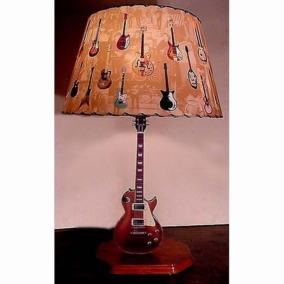 Items similar to guitar lamp and lamp shade vintage les paul gold items similar to guitar lamp and lamp shade vintage les paul gold top on etsy aloadofball Images