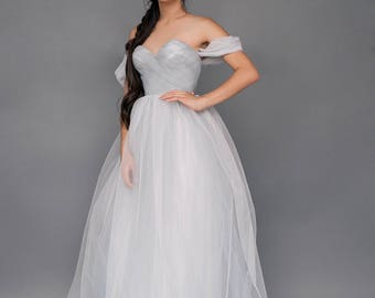 "SAMPLE SALE! -40% OFF US2 Bluish grey tulle wedding dress ""Forza"""