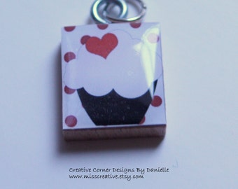 Cupcake Love Scrabble Tile Pendant-- Ready to ship
