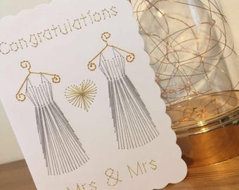 Handstitched Congratulations Mrs & Mrs Wedding Card