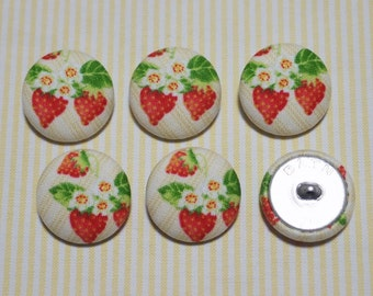 6 Strawberry Fabric Covered Buttons - 30mm (Metal Shanks, Metal Flatbacks)