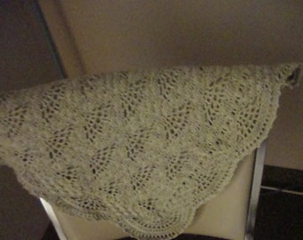heirloom thread crochet baby blanket, Ecru, christening blanket