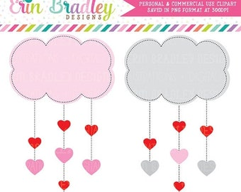 80% OFF SALE Valentines Day Clipart Heart Clouds Clip Art Digital Holiday Graphics Hearts and Clouds Instant Download