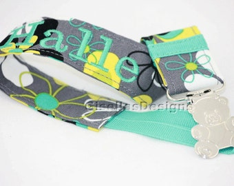 Floral teal and grey Personalized Pacifier Clip, Monogram Baby shower gifts, baby girl pacifier clip, custom made pacifier clips.