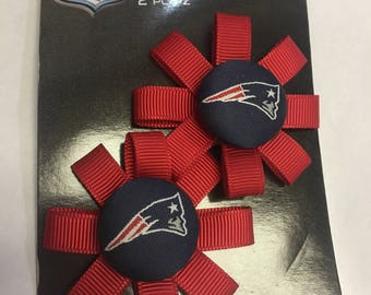 NFL New England Patriots Navy Logo Button with Red Grosgrain Ribbon Bows