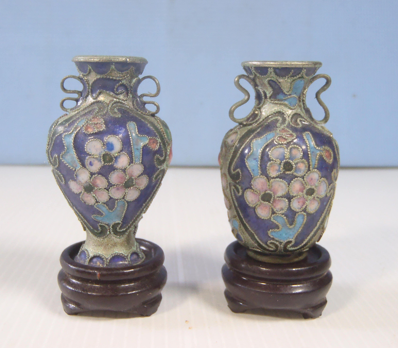 Vintage miniature cloisonne vases pair display wood stand zoom reviewsmspy