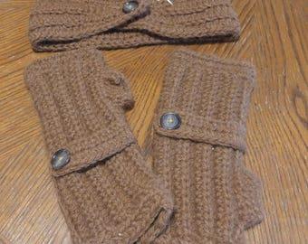 Alpaca fingerless gloves and headband