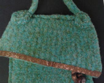 Felted Green purse with Vintage Button