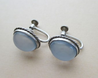 Sterling Silver Chalcedony Earrings - Luminous - Vintage