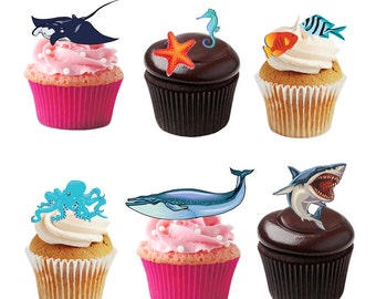 27 Stand Up Sea Animals Creatures Fish Underwater Edible Premium Wafer Paper Cake Toppers