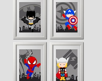 Superhero wall art PRINTS, super hero wall decor, set of 4, 8x10 inch high quality prints, shipped to your door