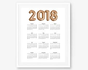 2018 wall calendar, desktop calendar, 2018 calendar, 2018 planner, calendar 2018, office calendar, yearly calendar, watercolor calendar,