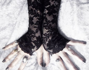 Hathor Long Lace Fingerless Gloves   Black Floral Scroll   Gothic Vampire Wedding Fetish Dark Tribal Bellydance Burlesque Goth Bridal Mori