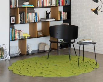Round rug, green boho rug, wool felt rug, modern accent rug, handmade rug, contemporary area rug, bedroom rug, fish rug, housewarming gift
