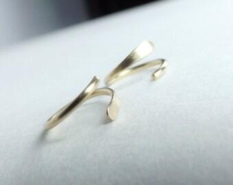 Solid 14k Yellow Gold Sleeper Earrings, Gold Sleeper Earrings, Hoop Earrings, Hammered Earrings, Circle, Gold Earrings, Jewelry, Minimalist