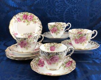 Royal Standard Festival Rose Bone China Tea Serving Set 4 Cups, Saucers & Plates