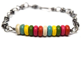 Sweeter Than Candy Bracelet Crafted from Sterling Silver and Howlite