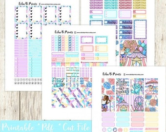 Carnival Girl Printable Planner Stickers/Weekly Kit/For Use with Erin Condren/Cutfiles Spring May Festival Candy Glitter Fun Carnival