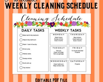 Printable Weekly Cleaning Shedule - Floral