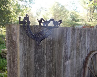 GOTHIC Wrought Iron Candle Holder Extends from Wall to Display or hold Objects  Garden Patio Art