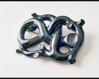 Vry large Original Antique Victorian  Whitby jet 'branch' brooch