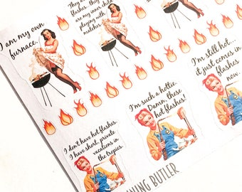 F173--Hot Flash Planning Stickers for the Erin Conderen ECLP or Happy Planner. Snark menopause women retro vintage fire hot