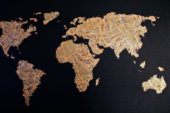 Items similar to gold leaf map of the world on etsy gumiabroncs Images