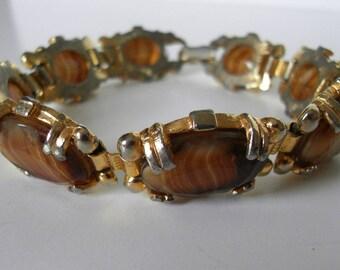 Vintage glass agate link  bracelet